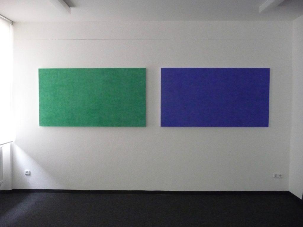 Helmut Dirnaichner zeigt im Kunsthaus Rehau die großformatigen Werke Malachit und Lapislazuli aus dem Jahr 1998.
