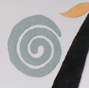 Pok ta pok ist ein Werk von Helmut Dirnaichner aus dem Jahr 1987, geschaffen mit Erden aus Mexiko und Zellulose, hier ein Detail davon.