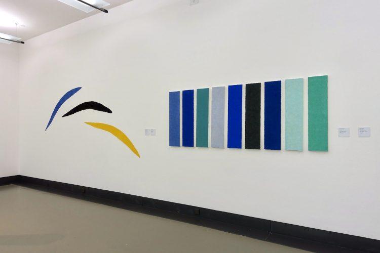 Lapislazuli, Vulkan, 1989 und Steinpfad, 1997 sind Werke von Helmut Dirnaichner, in der Ausstellung Farbe im Stein - Schwingung im Metall, Helmut Dirnaichner und Martin Willing, im Museum im Kulturspeicher Würzburg Juni-Juli 2019.