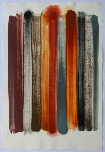 Hämatit Braunkohle Erde ist ein Aquarell von Helmut Dirnaichner aus dem Jahr 2001.