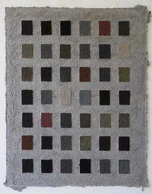 Kohle, Wasser, Sumpf ist ein Werk von Helmut Dirnaichner aus dem Jahr 2003, aus schwarzen Materien wie Anthrazit und Vulkanasche, Sumpferde und Zellulose geschöpft